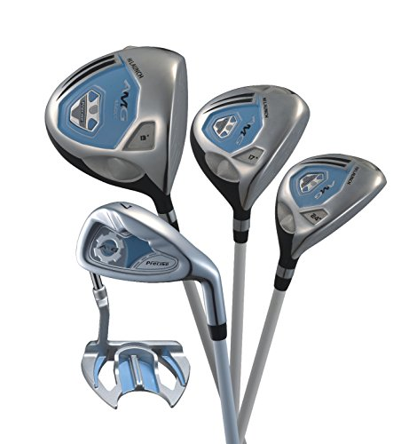 Precise-AMG-Ladies-Womens-Complete-Right-Handed-Golf-Clubs-Set-Includes-Titanium-Driver-SS-Fairway-SS-Hybrid-SS-6-PW-Irons-Putter-Stand-Bag-3-HCs-Blue-Petite-Size-for-53-and-Below-0-0