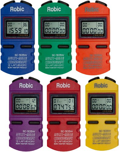 Robic-SC-505W-12-Memory-Stopwatch-Pack-of-6-Assorted-Colors-0