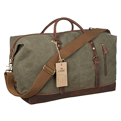 S-ZONE-Oversized-Canvas-Leather-Trim-Travel-Tote-Duffel-shoulder-handbag-Weekend-Bag-Upgraded-Version-0-1