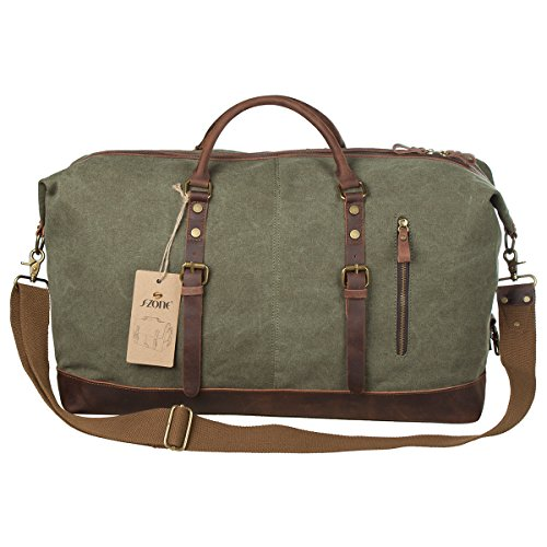 S-ZONE-Oversized-Canvas-Leather-Trim-Travel-Tote-Duffel-shoulder-handbag-Weekend-Bag-Upgraded-Version-0