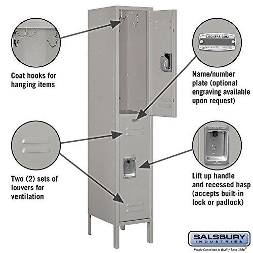 Salsbury-Industries-62155GY-U-Double-Tier-1-Inch-Wide-5-Feet-High-15-Inch-Deep-Unassembled-Standard-Metal-Locker-Gray-0-0