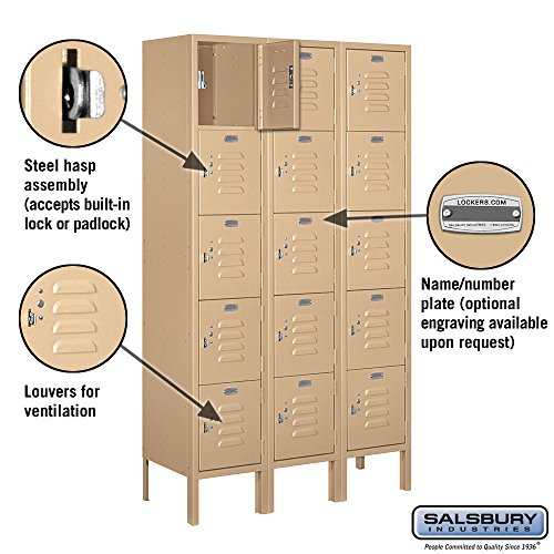 Salsbury-Industries-65352TN-U-Five-Tier-Box-Style-3-Inch-Wide-5-Feet-High-12-Inch-Deep-Unassembled-Standard-Metal-Locker-Tan-Brown-0-0