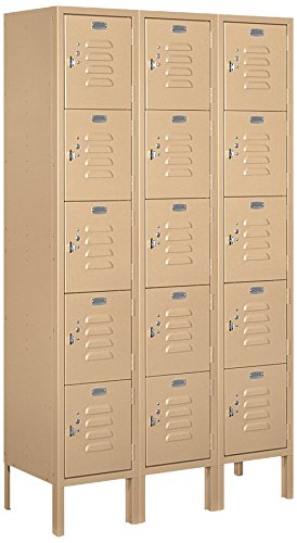 Salsbury-Industries-65352TN-U-Five-Tier-Box-Style-3-Inch-Wide-5-Feet-High-12-Inch-Deep-Unassembled-Standard-Metal-Locker-Tan-Brown-0
