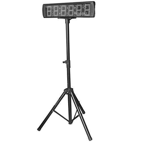 Single-Sided-Yellow-Color-LED-Race-Timing-Clock-with-Tripod-5-High-Character-for-Semi-Outdoor-Outdoor-Running-Events-IR-Remote-Control-0-0
