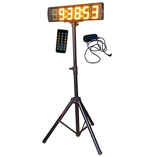 Single-Sided-Yellow-Color-LED-Race-Timing-Clock-with-Tripod-5-High-Character-for-Semi-Outdoor-Outdoor-Running-Events-IR-Remote-Control-0