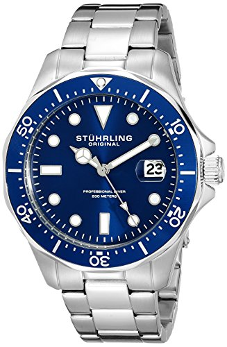 Stuhrling-Original-Aquadiver-Mens-Dive-Watch-Quartz-Analog-Waterproof-Sports-Watch-Blue-Dial-Date-Display-Swim-Wrist-Watch-for-Men-Luminous-Waterproof-Watch-with-Stainless-Steel-Bracelet-82402-0