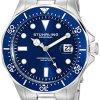Stuhrling-Original-Aquadiver-Mens-Dive-Watch-Quartz-Analog-Waterproof-Sports-Watch-Blue-Dial-Date-Display-Swim-Wrist-Watch-for-Men-Luminous-Waterproof-Watch-with-Stainless-Steel-Bracelet-82402-0