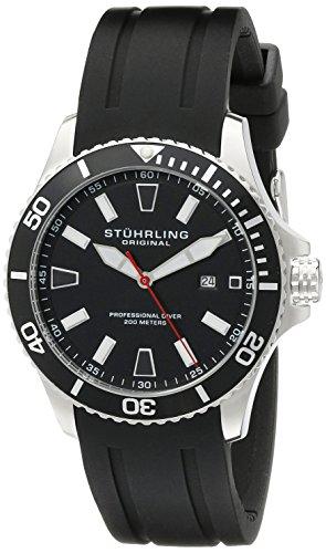 Stuhrling-Original-Aquadiver-Regatta-Mens-Black-Watch-Quartz-Analog-Swim-Sports-Watch-Black-Dial-Date-Display-Waterproof-Watch-Luminous-Professional-Dive-Watch-with-rubber-Strap-70601-0