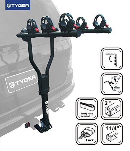 TYGER-Deluxe-Black-3-Bike-Hitch-Mount-Bicycle-Carrier-Rack-with-Hitch-Lock-Fits-125-or-2-Inch-Receiver-0