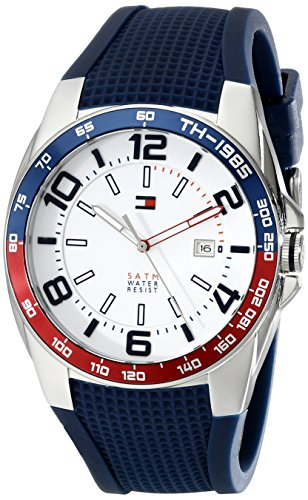 Tommy-Hilfiger-Mens-1790885-Stainless-Steel-Watch-With-Blue-Silicone-Band-0