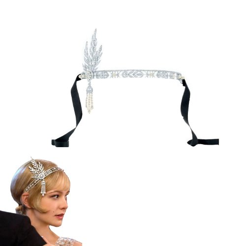 Wiipu-The-Great-Gatsby-Bridal-Bridesmaids-Flower-Pearl-Ribbon-Hair-Tiara-Headband-CrownAA46-0