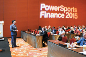 Motorcycle Industry Council president Tim Buche spoke about industry growth during the Powersports Finance 2015 summit in Las Vegas.