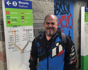 SpeedMob Inc. president Tim Calhoun gets ready to board another train to EICMA in Milan.