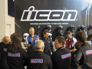 ICON Motorsports general manager Justin Knauer makes a production presentation to Parts Europe reps at EICMA in Milan.