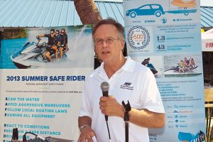 "David Dickerson, director of state government relations for the Personal Watercraft Industry Association, participated in the ""Summer Safe Rider"" launch at Lake Lanier, Ga."
