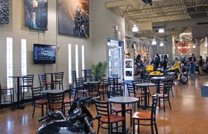 The new digs at Thunderbird Harley-Davidson offer plenty of chances for customers to get comfortable.
