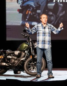 Yamaha Motor Co., Ltd., CEO and president Hiroyuki Yanagi rode a Bolt on stage at the Yamaha national dealer meeting at the MGM Grand Hotel & Casino in mid-June.