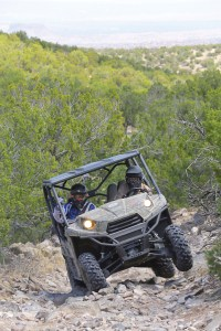 "PSB editor Dave McMahon took his turn behind the wheel of a 2013 Teryx4 as part of Kawasaki's partnership with Disney to promote ""The Lone Ranger."" Disney and Kawasaki gathered the media in Santa Fe for the ""Live the Legend: Adventure of the Teryx4"" that also included the pre-Hollywood premiere of the movie — and UTV saddle time. (Photo by Alfonse ""Fonzie"" Palaima)"