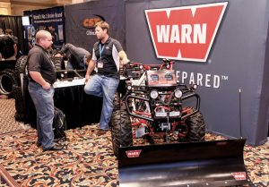 Patrick Storm of Warn Industries shows a near complete line of Warn products on this unique display machine.