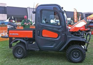 Among its other vehicles, Kubota showcased its RTV-X1100C at the GIE+EXPO. Other side-by-side manufacturers at the annual Louisville event included Bad Boy Buggies/E-Z-GO/Cushman, Bobcat, BV Powersports, Cub Cadet, John Deere, JCB, Sunright International and Polaris.