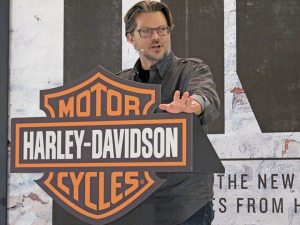Harley-Davidson senior vice president and chief marketing officer Mark-Hans Richer introduces the new 2014 Street 500 and Street 750 at EICMA.