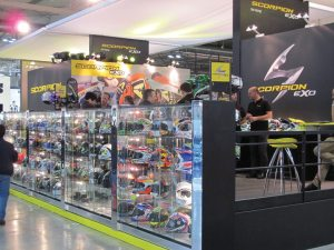 The Scorpion EXO booth featured an array of helmets and a steady number of dealers and distributors looking to do business.