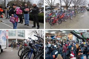 Motorcyclists from the Raleigh Harley Owners Group and Ray-Price Harley-Davidson delivered 80 bicycles and $2,500 in cash and toys to the U.S. Marines Toys for Tots campaign to share with local children in need.