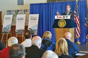 "Gov. Andrew M. Cuomo kicked off New York's ""I [Snowmobile] NY"" tourism campaign in the Tug Hill region of the state's North Country area."