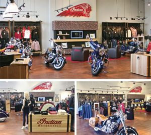 Dealerships such as Mies Outland in Watkins, Minn. (top), and Big #1 Motorsports in Birmingham, Ala. (bottom), have undergone build outs to accomodate the new Indian Motorcycle line.