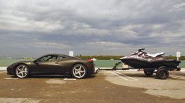 Electronic music producer deadmau5 towed his Sea-Doo Spark behind his Ferrari during BRP's Miami promotional event.