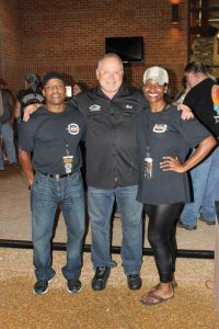 Southern Thunder Harley-Davidson owner Bob Parsons (center) with Boys & Girls Club of North Mississippi director of operations Tonny Oliver (left) and Evie Boyd, director or marketing and special events. In addition to the funds raised at the grand re-opening event, Parsons donated $100,000 to the community rganization.