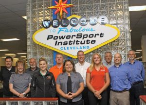 The PowerSport Institute Program Advisory Committee recently held its bi-annual meeting in Cleveland. (Front row, left) Laurie Rengel, Polaris Industries; Robin Tominello, Transportation Research Center; Tara Ivory, Polaris Industries; Kira Daczko, PSI Career Services director; and David Troncoso, Suzuki Motor of America Inc. (Back) Eric Hjalmarson, Kawasaki Motor Corp.; Bernie Thompson, PSI Campus director; Joe Hammergren, Transportation Research Center; Jerrod Rickard, American Honda Motor Co.; Ron Radeke, PSI V-twin manager; and Doug McIntyre, Suzuki Motor of America Inc.