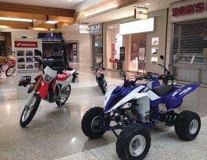 Five Valley Honda Yamaha of Missoula, Mont., set up a shop as part of Southgate Mall's first motorsports event in February.