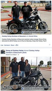"Photos of Kenny Enloe, his recent customers and their bikes are among the posts most frequently seen on the ""Kenny at Cowboy Harley"" Facebook page."