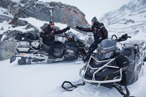 The Lynx Commander Touratech snowmobile is designed for ultimate winter adventures.