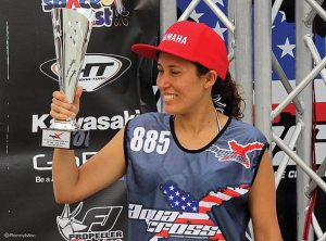 Paloma Noceda accepts the second place award in the 250 class of Daytona Round 1. Noceda is from Peru and rides for Yamaha RIVA Dean's Team.