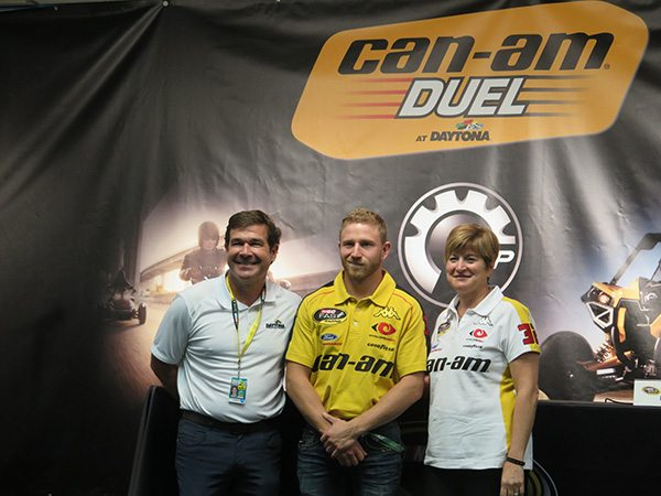 (From the left) Daytona International Speedway president Joie Chitwood III; Anne Belec, senior vice president, Global Brand and Strategy; and Jeffrey Earnhardt, NASCAR No. 32 Sprint Cup Series racing team driver.