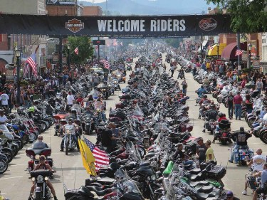 The South Dakota Department of Transportation reports that 965,130 vehicles entered the city of Sturgis from July 24-Aug. 9. This photo was taken on Monday, Aug. 3, the first official day of the rally, and the day the most vehicles (96,409) were reported entering the city.