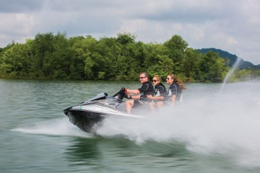 The 2016 WaveRunner VX Cruiser features Yamaha's new TR-1 HO engine, which is 40 percent smaller, 20 percent lighter in weight and 13 percent more powerful than the Yamaha MR-1 engine it replaces.