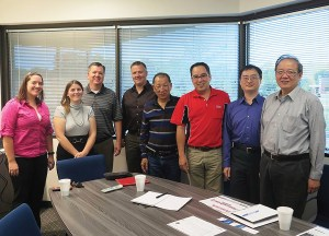 TGB staff stopped by the Powersports Business office in September. From left: PSB editors Kate Swanson, Liz Keener and Dave McMahon; Gary Gustafson of G-Force Consulting; and from TGB, George Lin, Daniel Hsieh, Jimmy Liu and Gary Tseng.