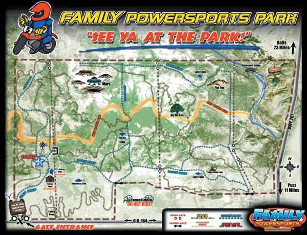 Family Powersports Park in Texas offers 2,500 acres for Family Powersports customers to ride off-road