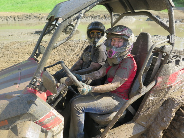 Managing editor Liz Keener (right) and assistant editor Kate Swanson at Quadna Mud Nationals in Hill City, Minn.