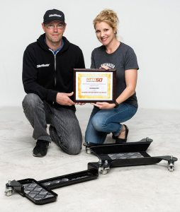 BikeMaster won another Nifty 50 award in 2016 for its Motorcycle Dolly. (From left) BikeMaster brand manager Phillip Mayfield and brand manager Katie Qatato show off their latest certificate.