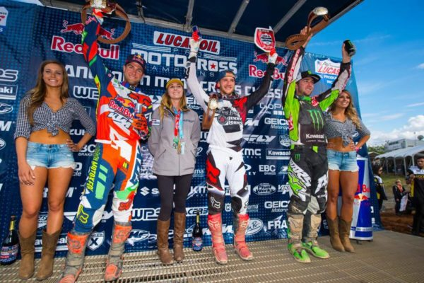 Roczen (center), Dungey (left) and Tomac (right) completed the 450 Class overall podium. Photo: Simon Cudby