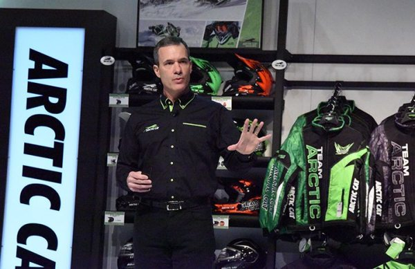 Arctic Cat CEO Christopher Metz discusses the Arctic Wear programs during the dealer meeting in Las Vegas.