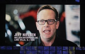 Jeff Nielsen from Nielsen Enterprises in Lake Villa, Ill., was a featured dealer on the video board at the Ski-Doo dealer meeting.