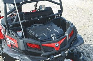 SuperATV's cargo box attaches securely to the rear bed of the CFMOTO ZForce 800 EX.