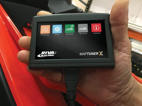 The MaptunerX is a full color, touchscreen handheld programmer and diagnostic tool. With the MaptunerX, dealers can flash Riva Performance tunes into the OEM ECU via the vehicle's diagnostic port or ECU connector, providing horsepower and building profits.
