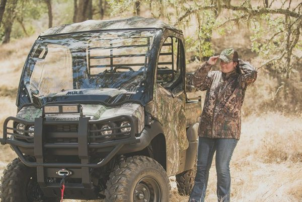 Kawasaki offers a Hunting Package of accessories with a soft cabin enclosure in Realtree Xtra Green camo or black and a KQR Flip-Up or Fixed Windshield.
