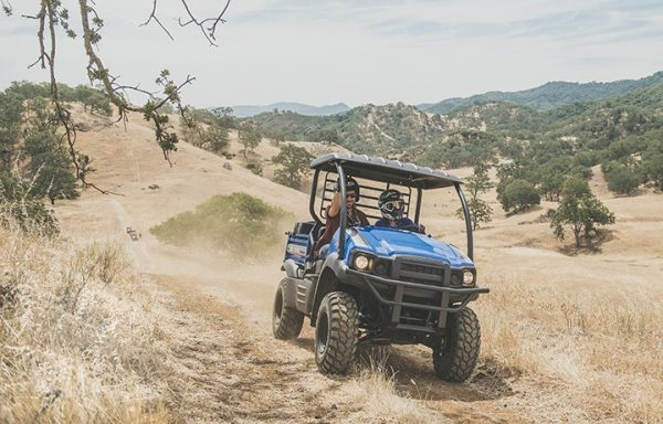 PSB managing editor Liz Keener takes Kevin Allen, manager of public relations at Kawasaki Motors Corp., on a ride at the Ancient Peaks Winery vineyard in Santa Margarita, Calif.